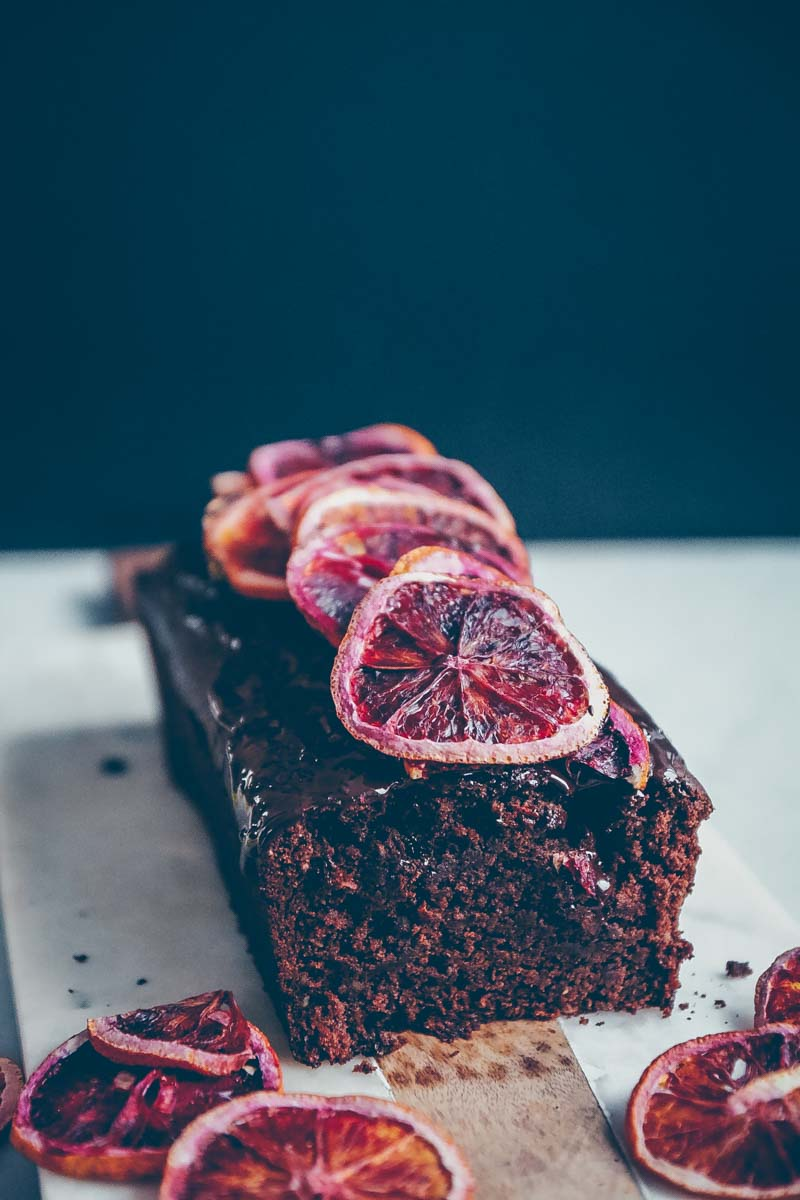 ZUCCHINI CHOCOLATE CAKE WITH DEHYDRATED BLOOD ORANGES