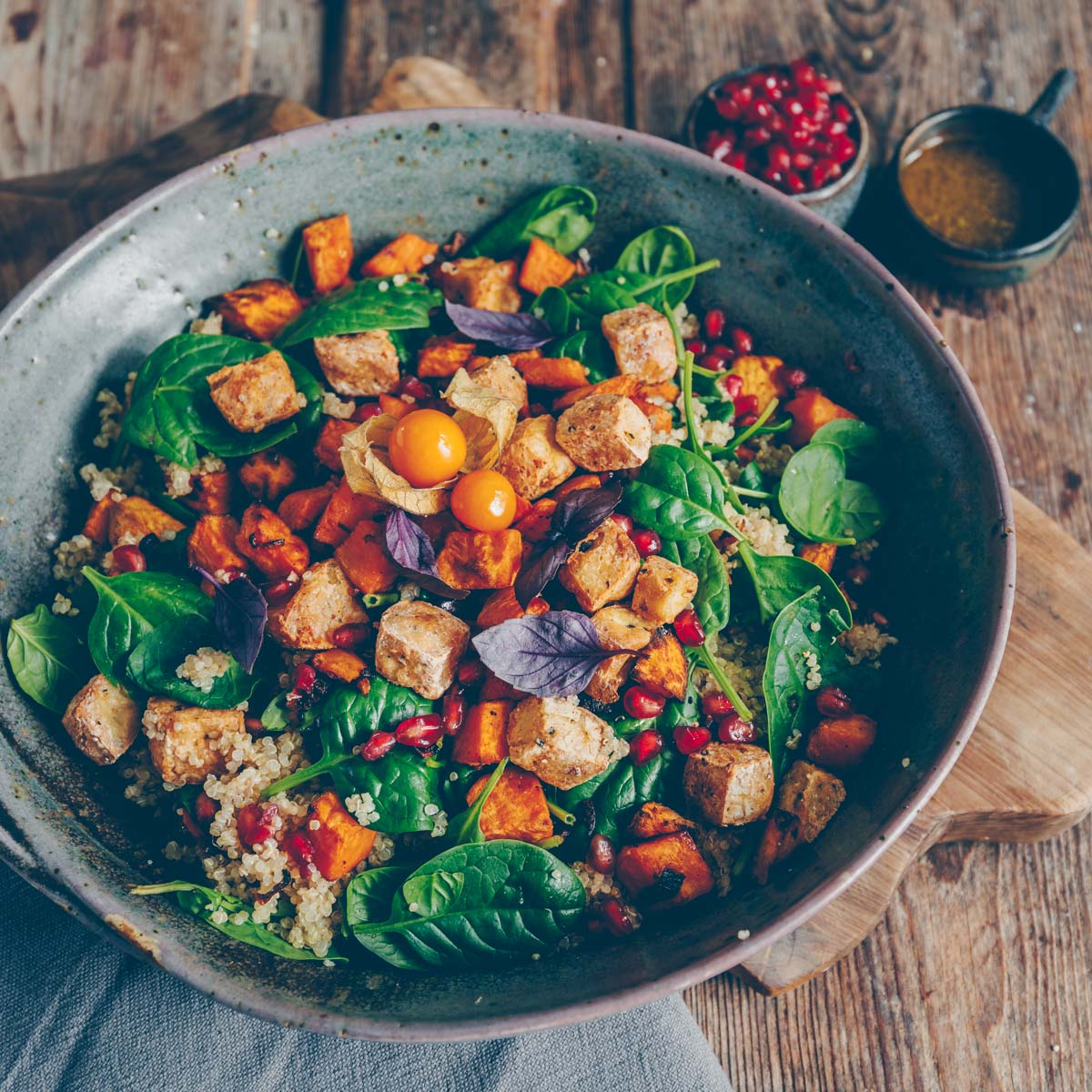 Colorful salad with sweet potato and quinoa