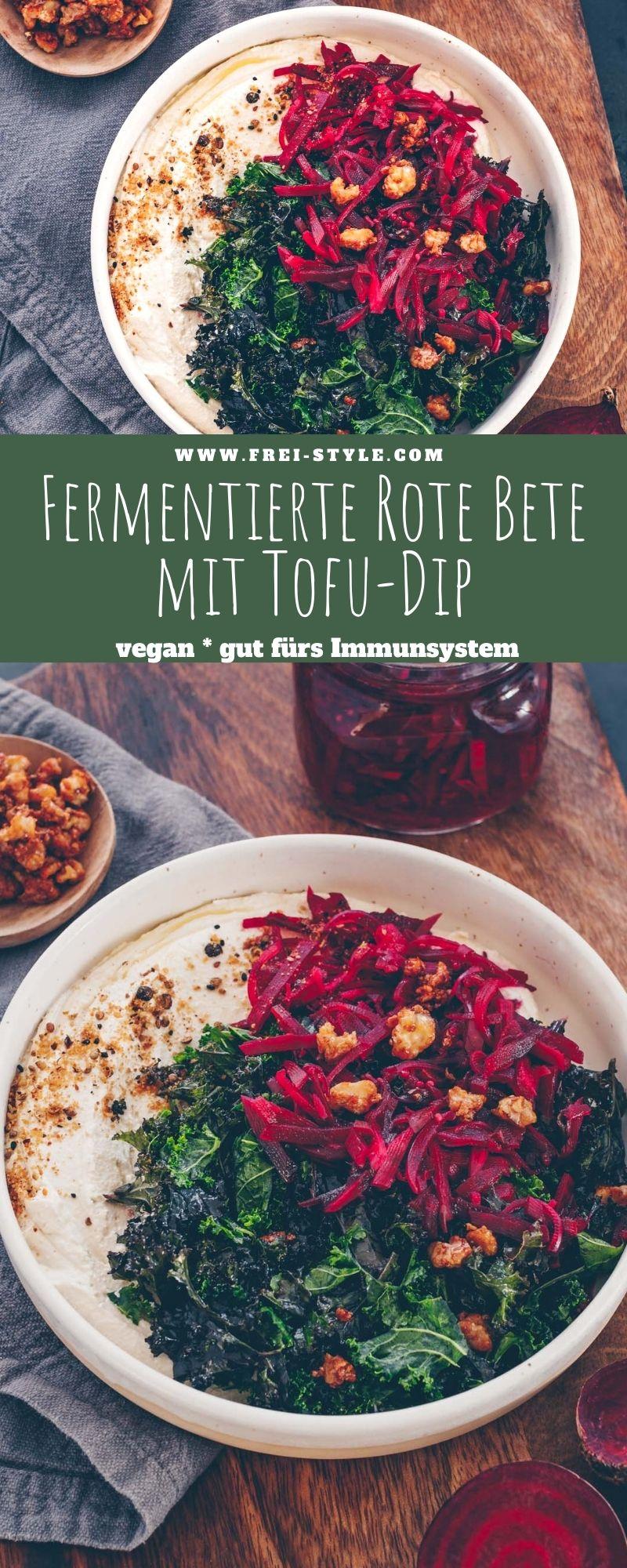Fermentierte Rote Bete mit Tofu-Dip