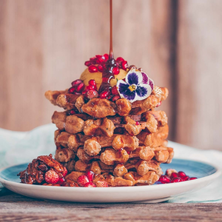 Crispy Vegan Apple Chia Waffles