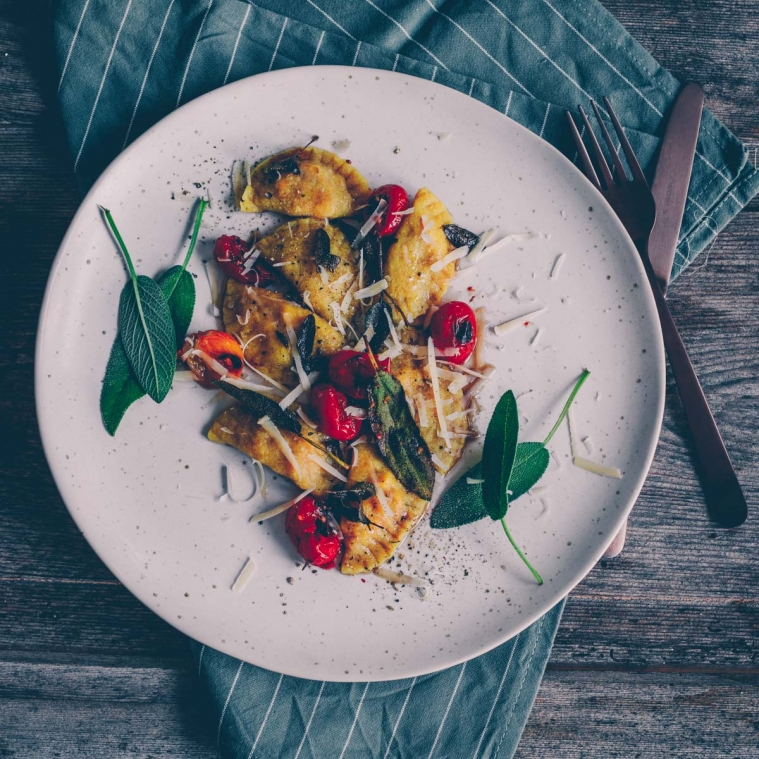 Vegan Pumpkin ravioli with sage butter
