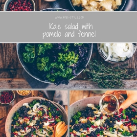 Kale salad with fennel and pomelo