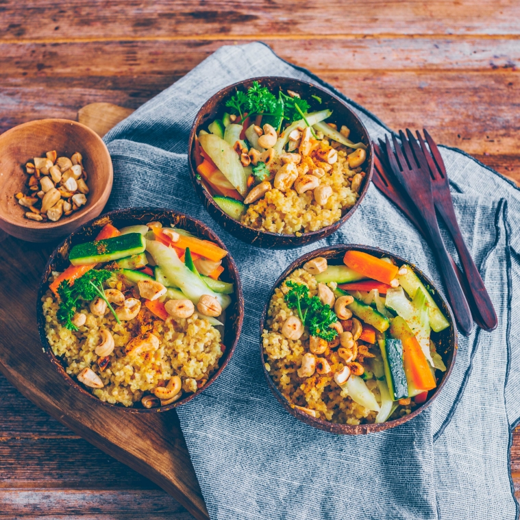 Bulgur with coconut and veggies