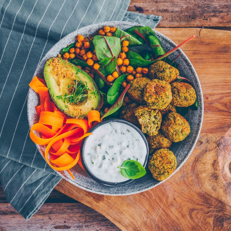 Baked Broccoli Balls with cucumber dip