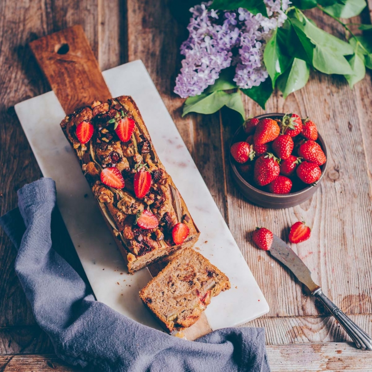 Banana bread with strawberries and rhubarb