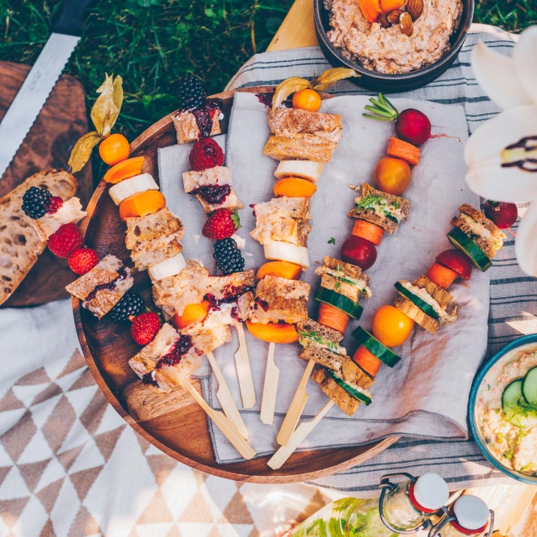 A picnic in the garden with 3 delicious spreads
