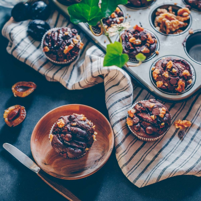 Plum chocolate muffins