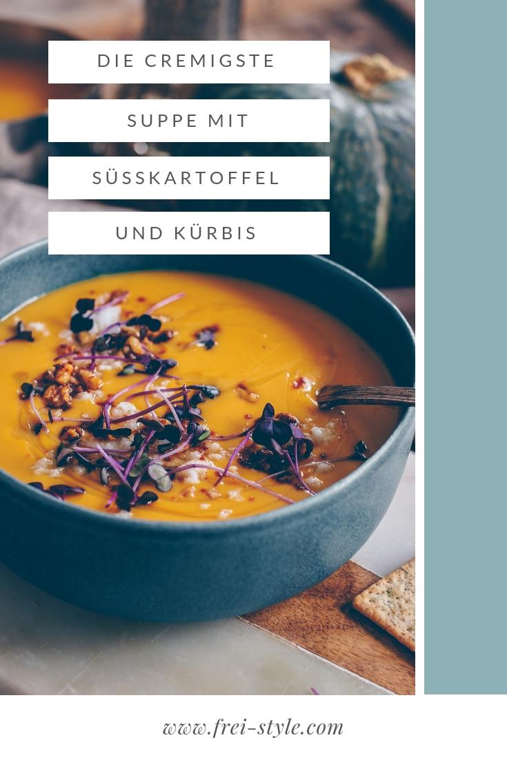 Süsskartoffel-Kürbis Suppe, super cremig und vegan