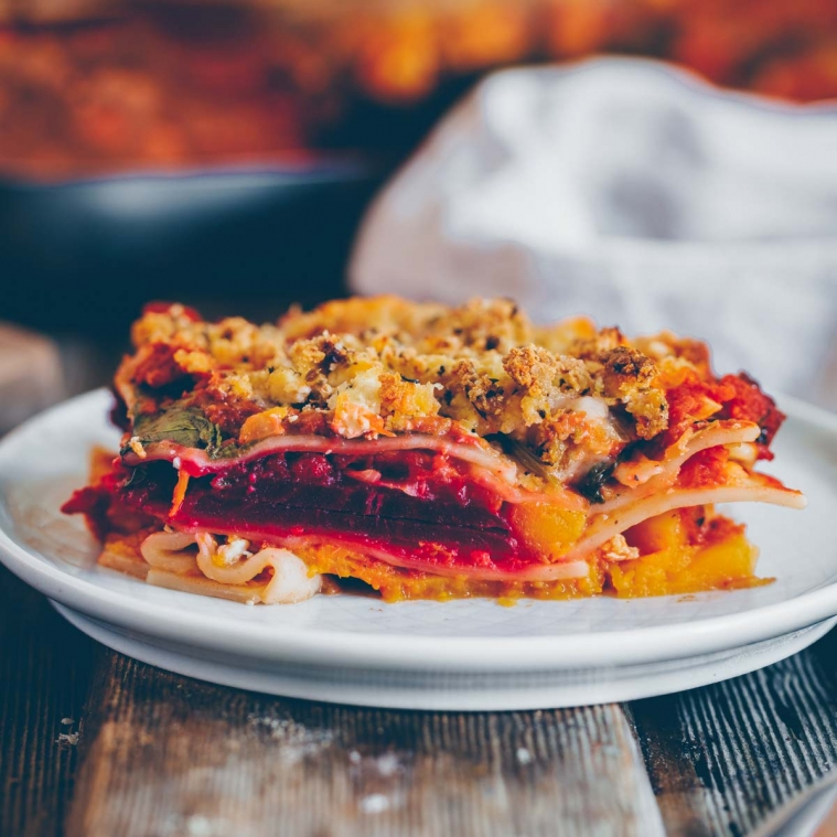 Autumn lasagne with pumpkin