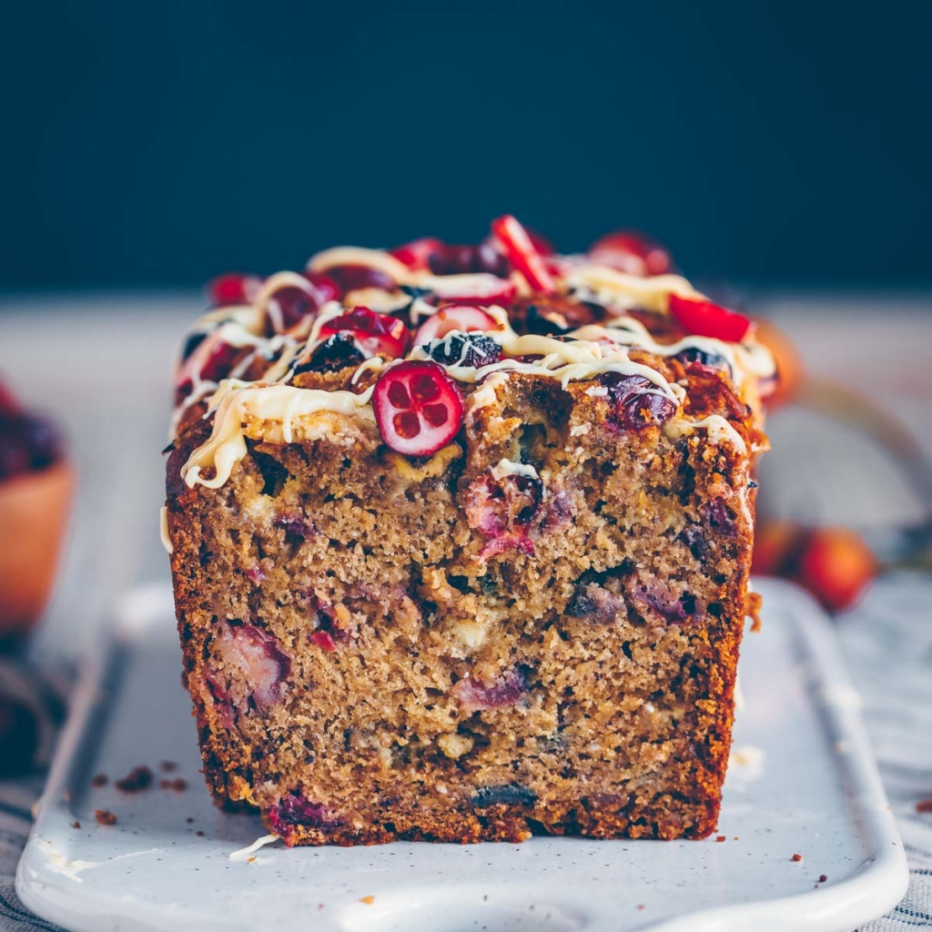 Banana bread with cranberries and white chocolate