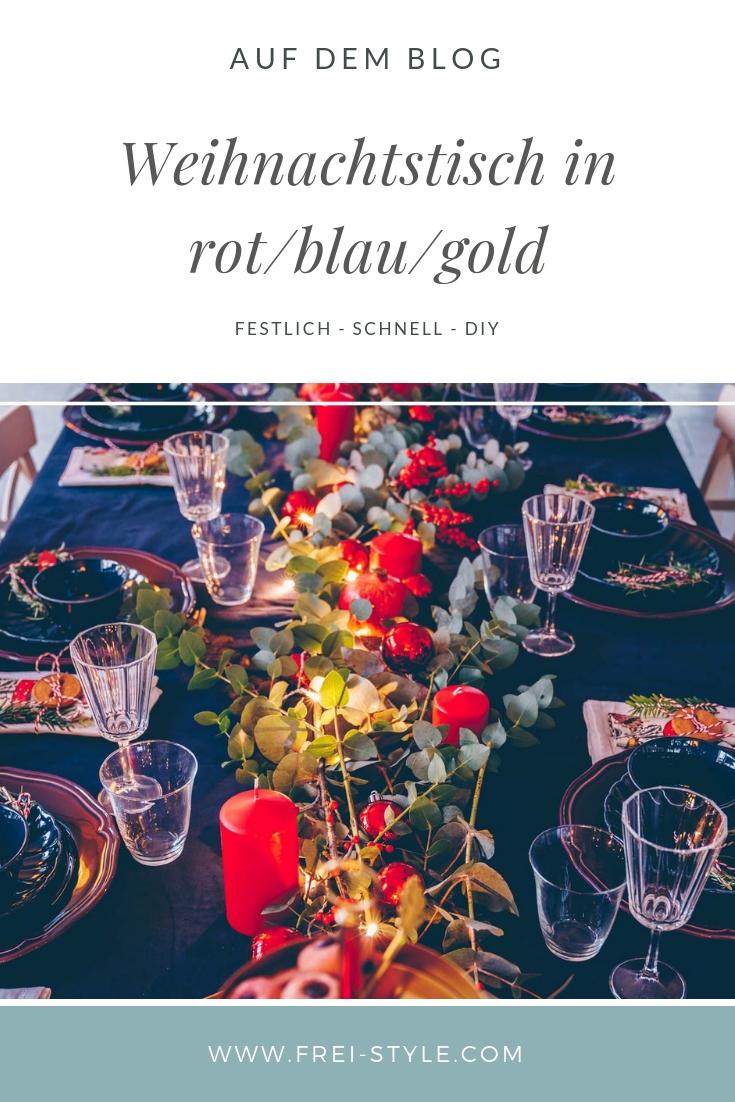 Festlicher Weihnachtstisch rot/blau/gold