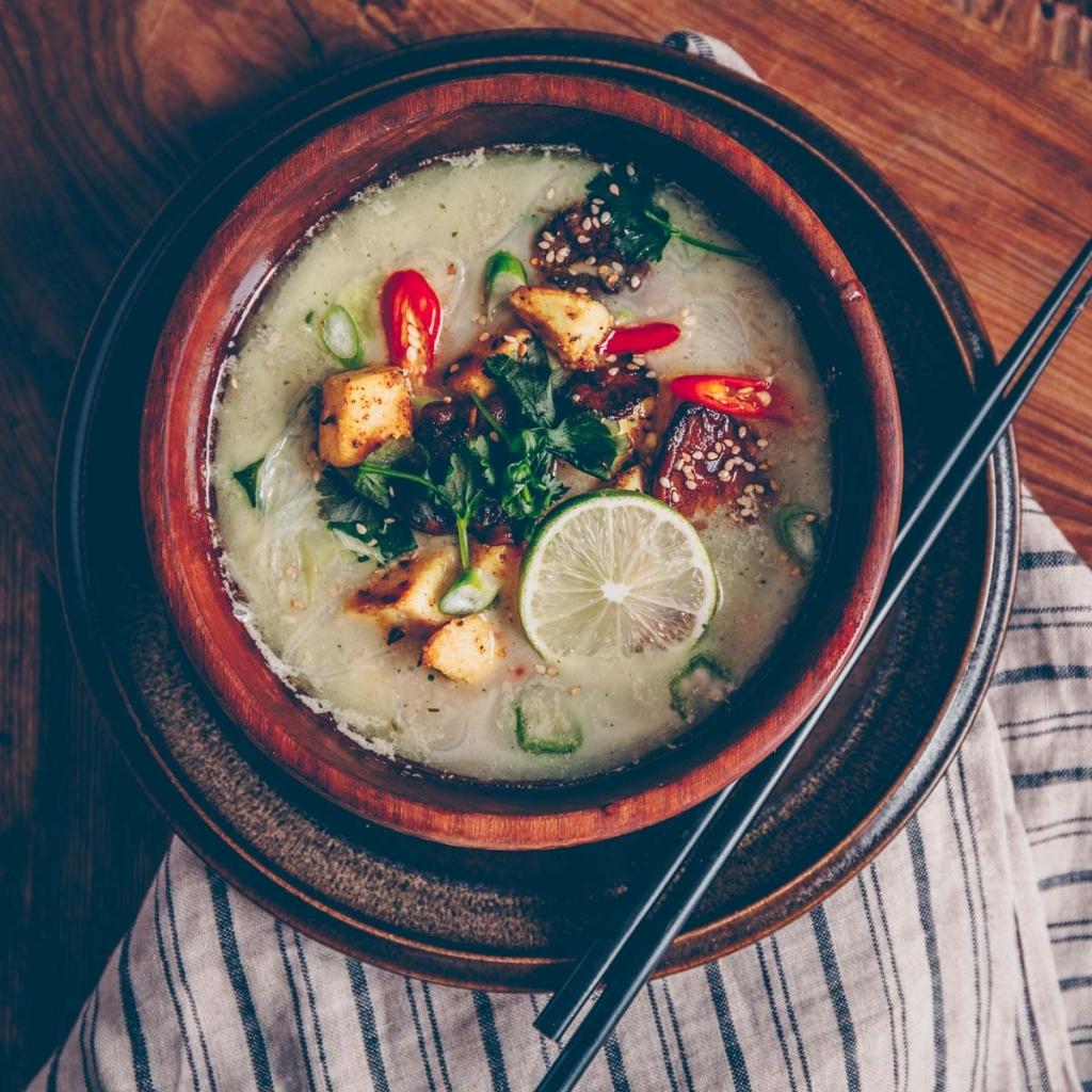 Vegan Tom Kha Gai with tofu