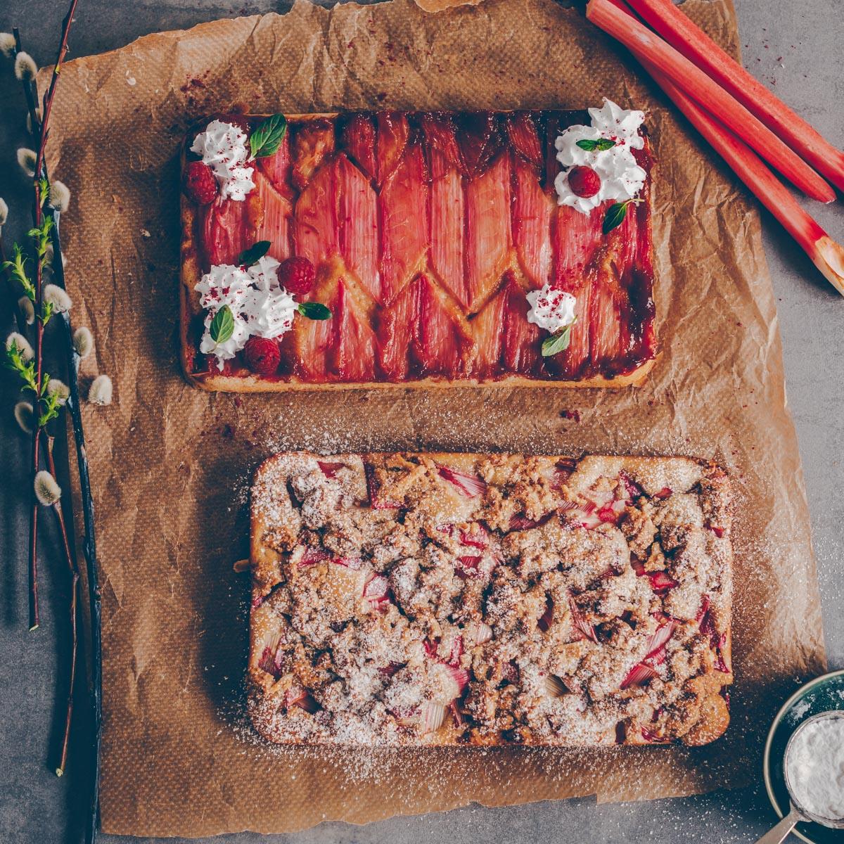 Rhabarberkuchen - 1 Teig, 2 Versionen - vegan