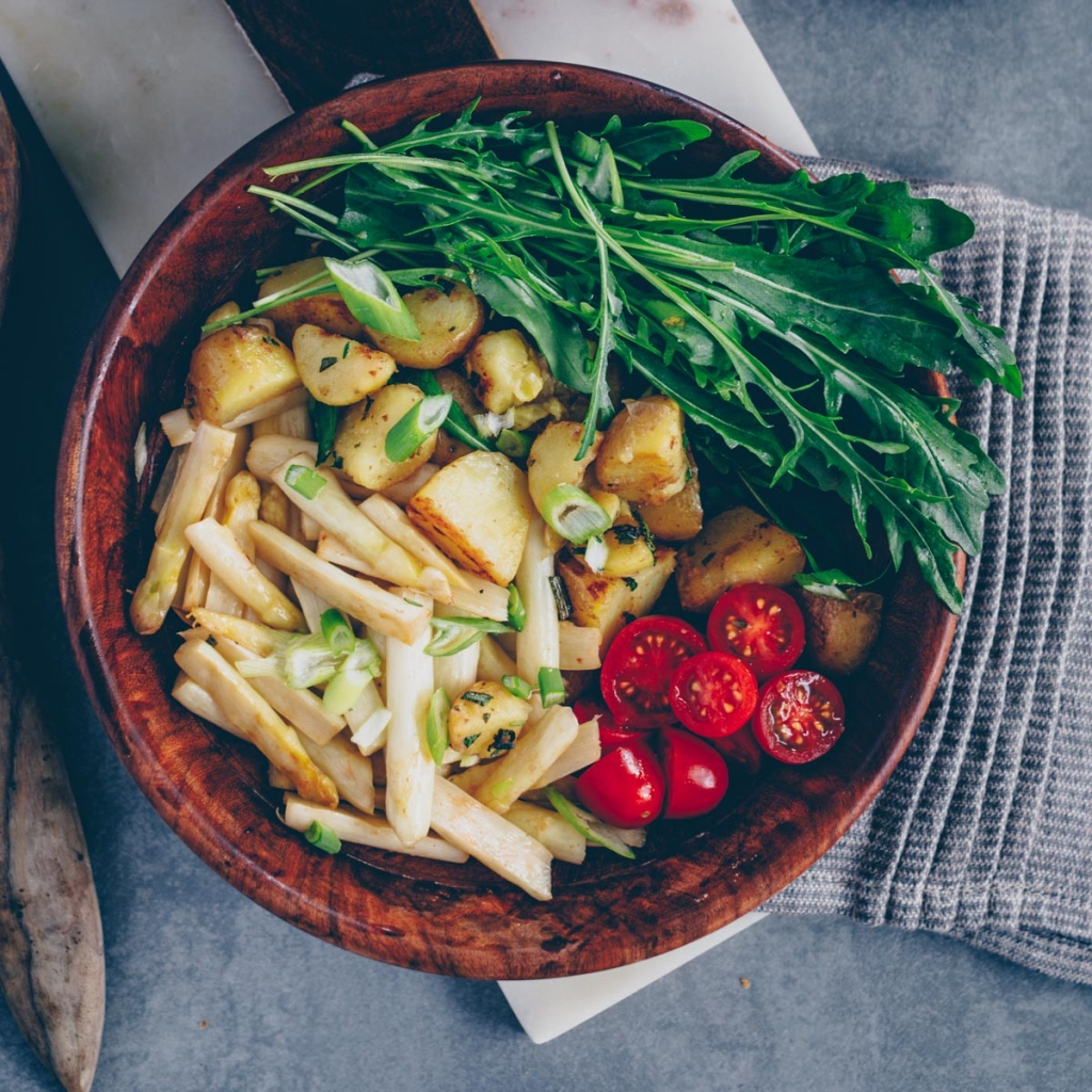 Light potato asparagus salad