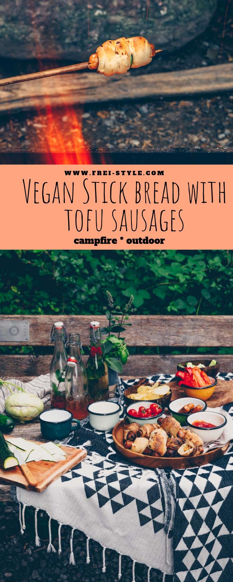 Vegan stick bread with tofu sausages