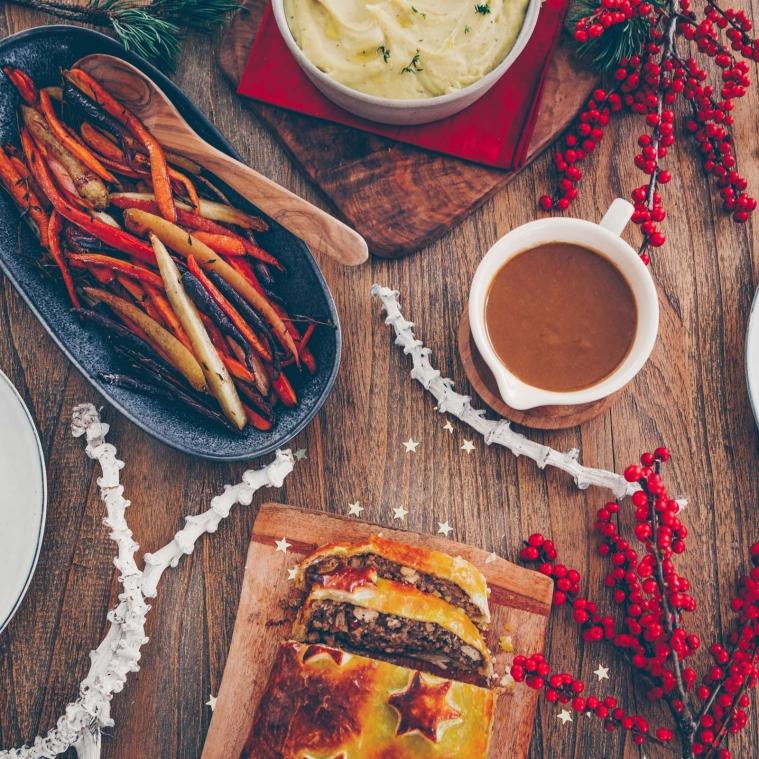 Vegan Christmas menu: Truffle tofu mushroom chestnut strudel