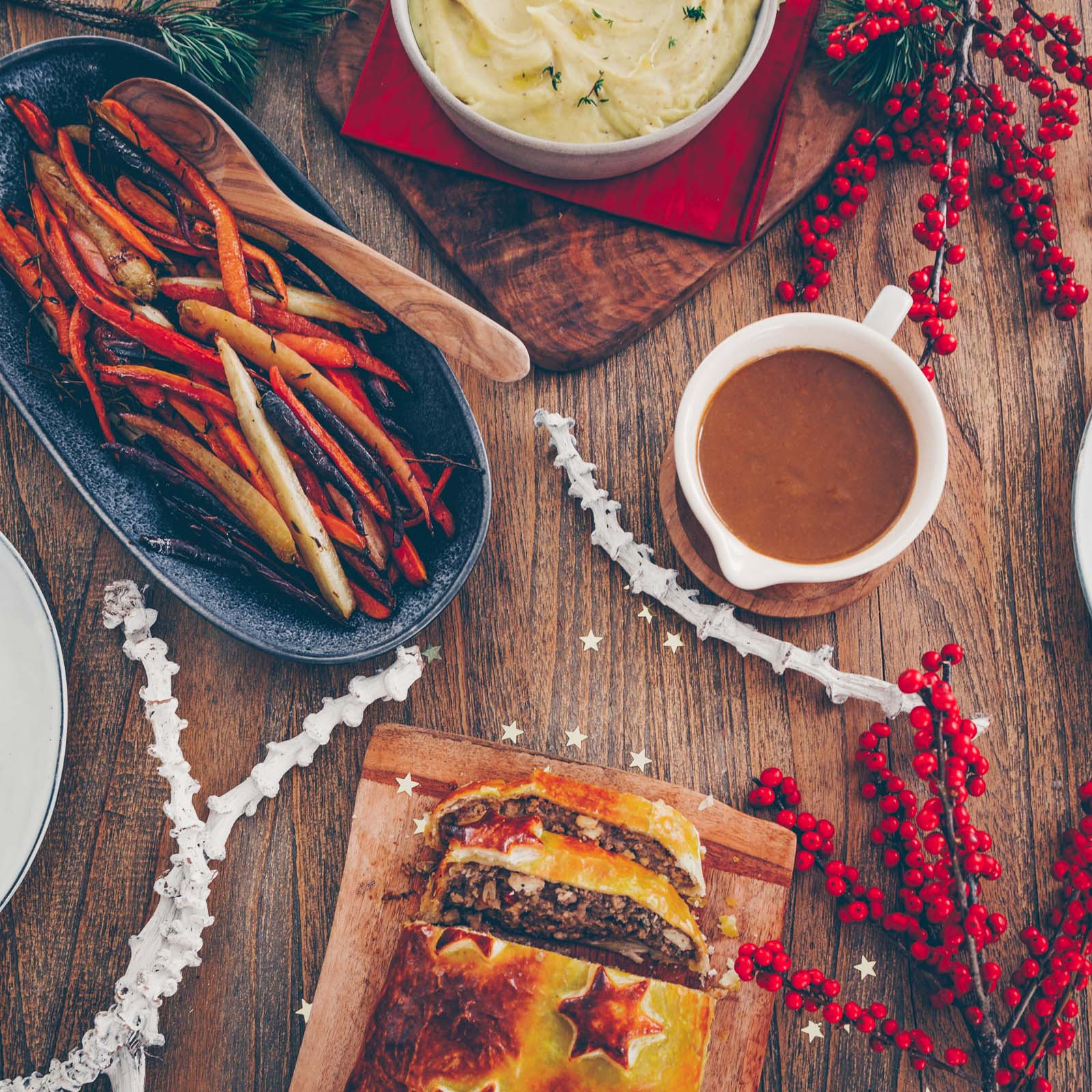 Veganes Weihnachtsmenü: Trüffeltofu-Pilz-Maroni-Strudel