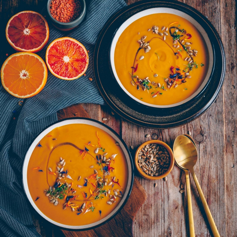 Creamy lentil orange soup