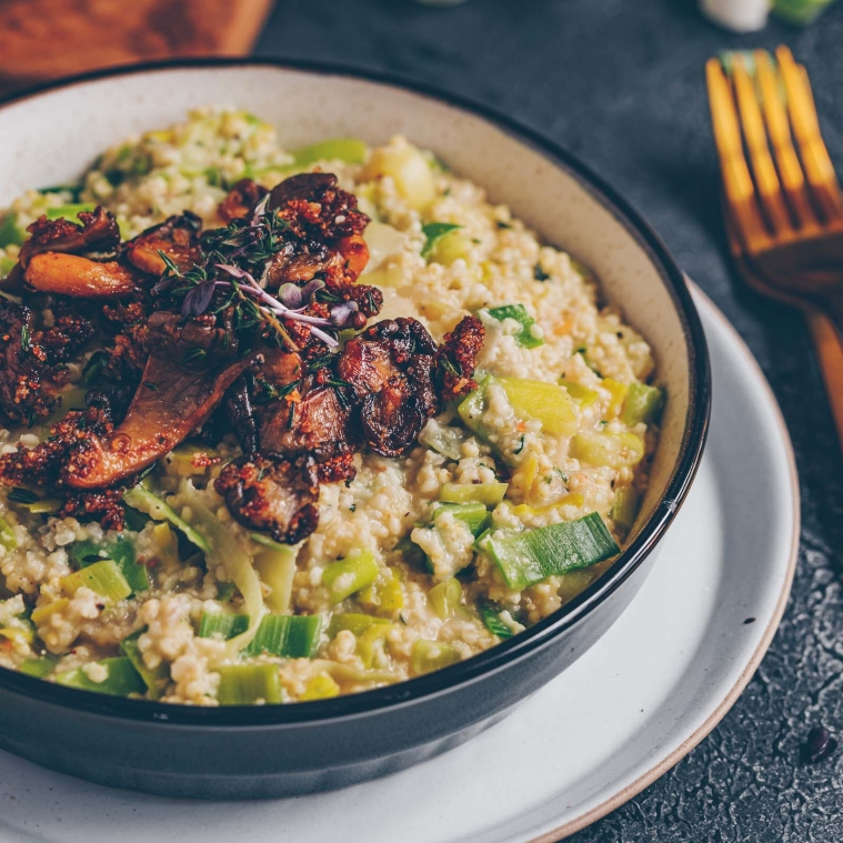 Millet risotto with leek