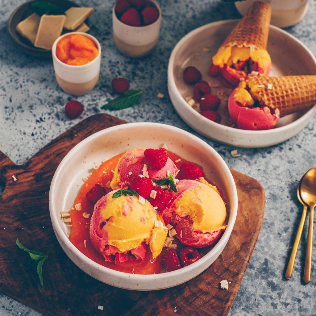 Vegan mango and raspberry ice cream