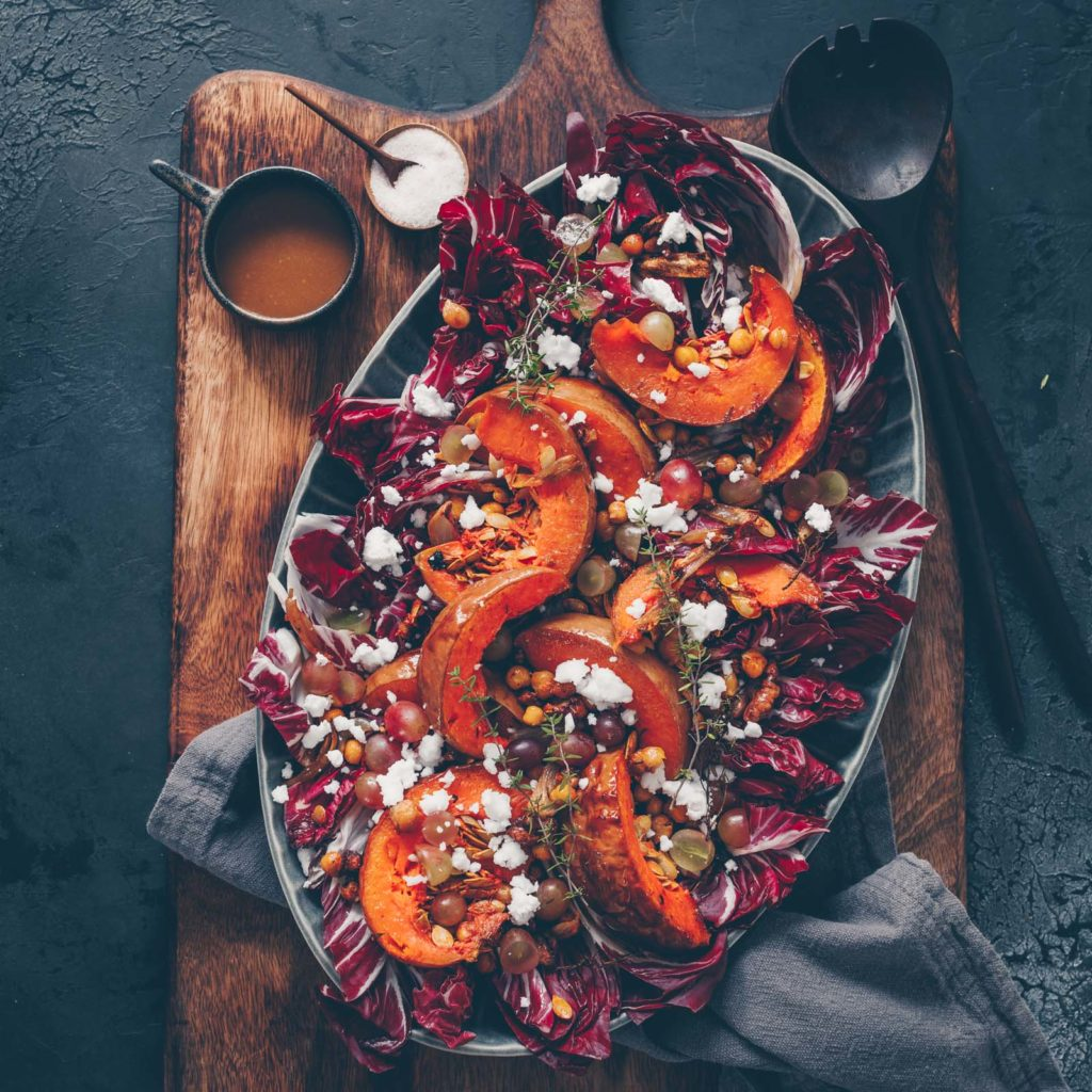 Radicchio salad with oven roasted vegetables