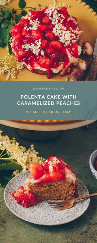 Polenta cake with Peach compote